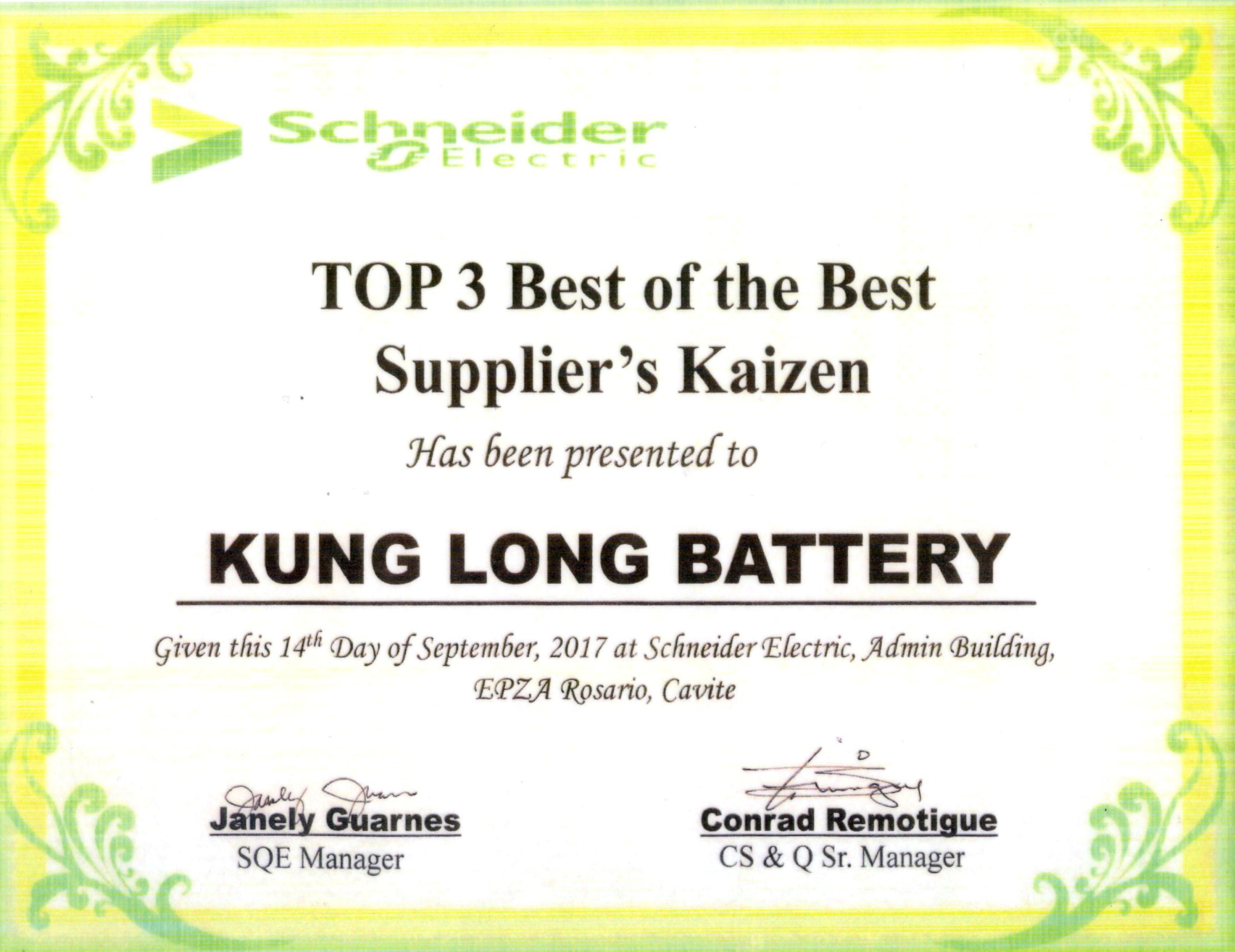 Kung Long Best of the Best Schneider Electric supplier